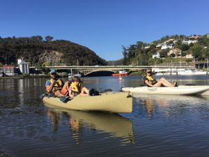 Two canoes on the Tamar River Kayak Tour